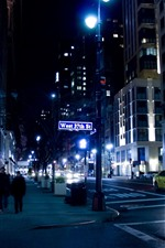 Preview iPhone wallpaper New York, night, street, cars, lights, USA