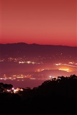 Night, city, lights, sea, top view, San Francisco, USA