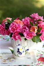 Pink roses, tea, cup, kettle