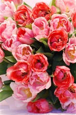 Preview iPhone wallpaper Pink tulips, bouquet, gift