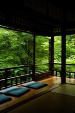 Preview iPhone wallpaper Platform, rest place, green trees, park