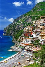 Preview iPhone wallpaper Positano, Salerno, Italy, houses, sea, boats