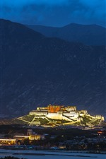 Preview iPhone wallpaper Potala Palace, Tibet, mountains, night, city