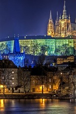 Preview iPhone wallpaper Prague, city night, lights, river, houses