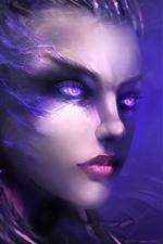 Olhos roxos fantasia menina, rosto, cabelo