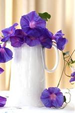 iPhone壁紙のプレビュー 紫色の朝顔、ピンクのバラ、花瓶