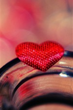 Preview iPhone wallpaper Red love heart, glass cup