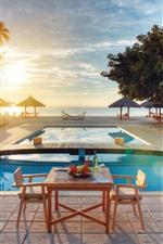 Resort, tropical, sea, pool, trees, sunset