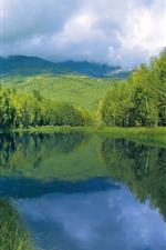 River, trees, mountains, green, clouds, summer