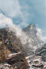 Rocks, mountains, clouds, fog