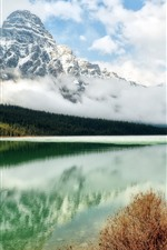 Preview iPhone wallpaper Rocks mountains, snowy, river, forest, clouds, clear water