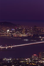 Preview iPhone wallpaper San Francisco, night, bridge, city, lights, sea, USA
