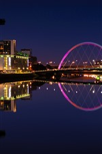 Preview iPhone wallpaper Scotland, UK, river, lights, bridge