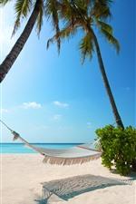 Preview iPhone wallpaper Sea, beach, hammock, palm trees, tropical, summer
