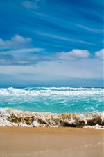 Mar, praia, ondas, água, espuma