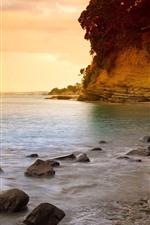 Sea, sunset, cliff, rocks