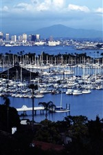 Preview iPhone wallpaper Shelter Island, San Diego, USA, yachts, sea
