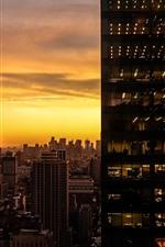 Небоскребы, стекло, закат, огни, комнаты, окна, город