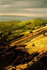 Preview iPhone wallpaper Slope, hills, lake, meadow, nature scenery