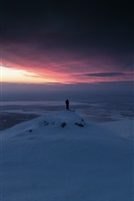 Snow, sunset, winter, sky, person