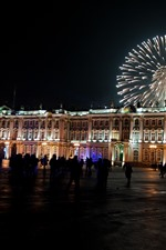 Preview iPhone wallpaper St Petersburg, square, night, fireworks, Russia