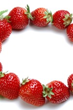 Strawberries, round, white background