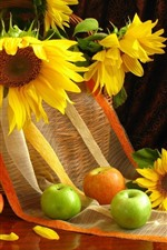 Preview iPhone wallpaper Sunflowers, basket, apples