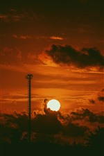 Sunset, clouds, sky, darkness, silhouette