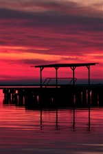 Sunset, pier, silhouette, river, red sky