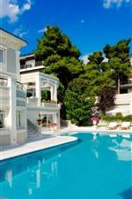 Preview iPhone wallpaper Swim pool, villa, trees, summer