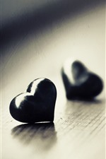 Preview iPhone wallpaper Two black love hearts