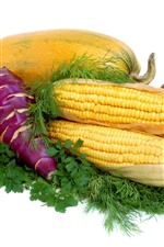 Vegetables, corn, tomato, pumpkin, apples, white background