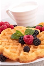 Preview iPhone wallpaper Waffle cookies, milk