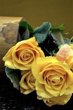 Preview iPhone wallpaper Yellow roses, petals, bouquet, vase