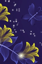 Preview iPhone wallpaper Abstract yellow flowers, butterfly, creative design