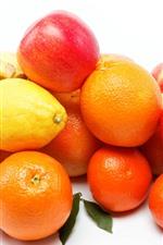Preview iPhone wallpaper Apples, banana, oranges, lemon, white background