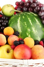 Preview iPhone wallpaper Basket, fruit, apples, peaches, grapes, watermelon, raspberries