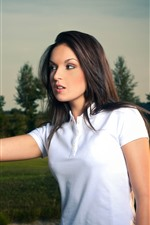 Preview iPhone wallpaper Beautiful girl and golf stick