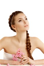 Preview iPhone wallpaper Beautiful girl, brown hair, braid, pink hyacinths flowers, white background