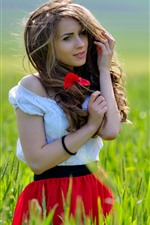 Preview iPhone wallpaper Beautiful girl, brown hair, grass, poppy flowers, summer