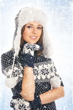 Preview iPhone wallpaper Beautiful girl, hat, coat, snowy