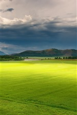 Preview iPhone wallpaper Beautiful green fields, farmland, trees, mountains, clouds