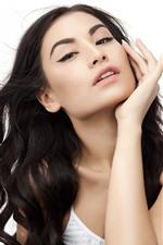 Black hair fashion girl, pose, white background