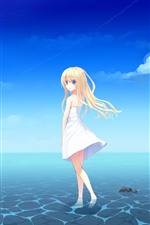 Preview iPhone wallpaper Blonde anime girl, blue eyes, skirt, sea, summer