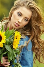 Preview iPhone wallpaper Blonde girl, sunflowers, hazy