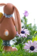 Preview iPhone wallpaper Bunny, pink flowers, egg, Easter, grass