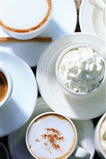 Preview iPhone wallpaper Coffee, cups, saucers, cream, cappuccino
