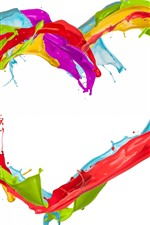 Preview iPhone wallpaper Colorful paint, love heart, splash, white background