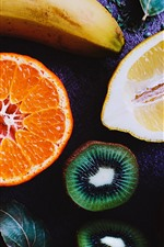 Preview iPhone wallpaper Cut fruit, kiwi, lemon, orange, banana, apple