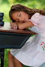 Preview iPhone wallpaper Cute child girl sleep, table, books, apple